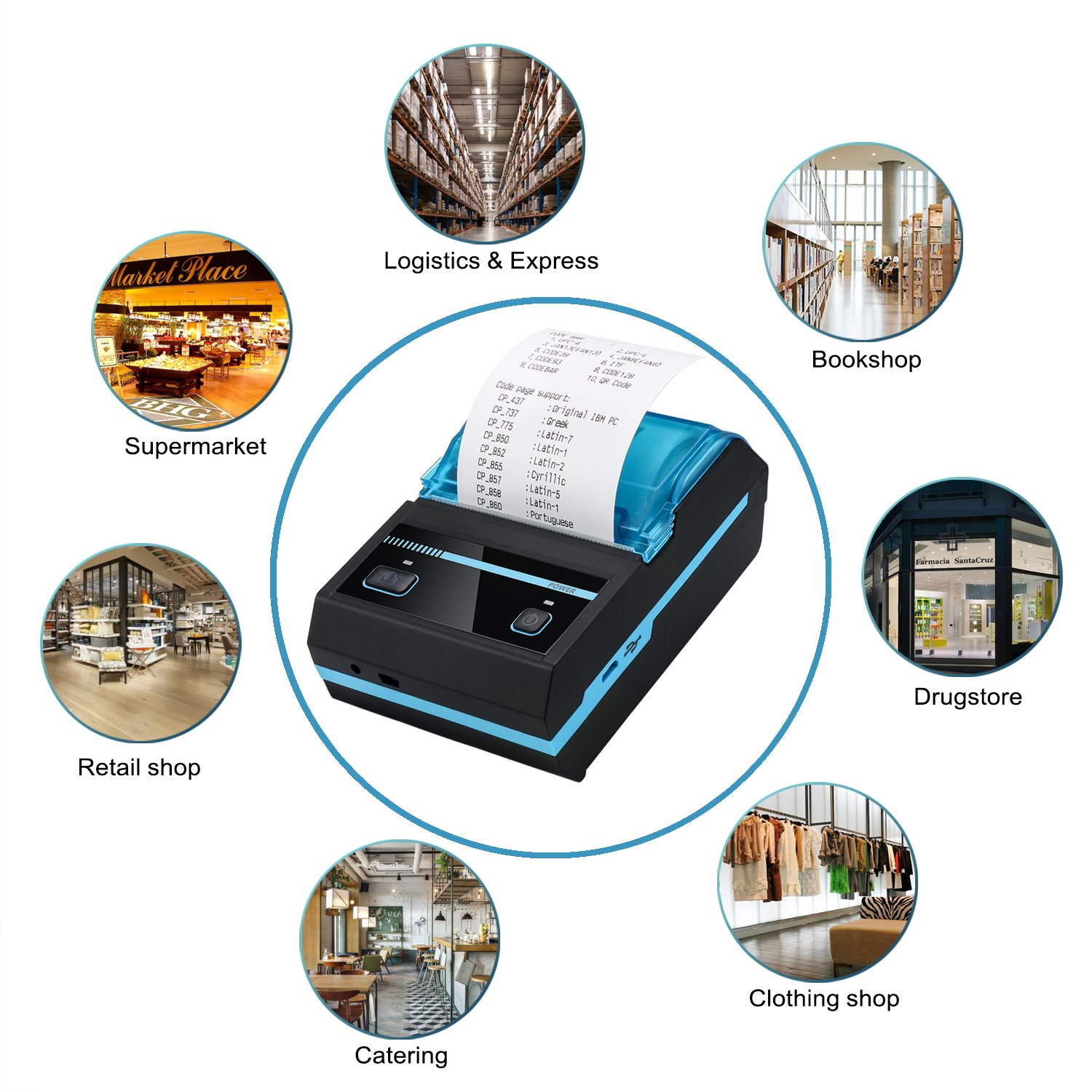 POSPRINT Thermal Printer 2inch Receipt Printer Portable Thermal Bluetooth  Printer with Rechargeable Battery for Small Business, Compatible with