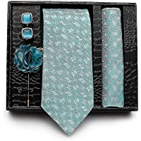 Axlon Men's Cotton Silk Necktie, Pocket Square, Lapel Pin Cufflinks Set (Multicolour, Free Size)