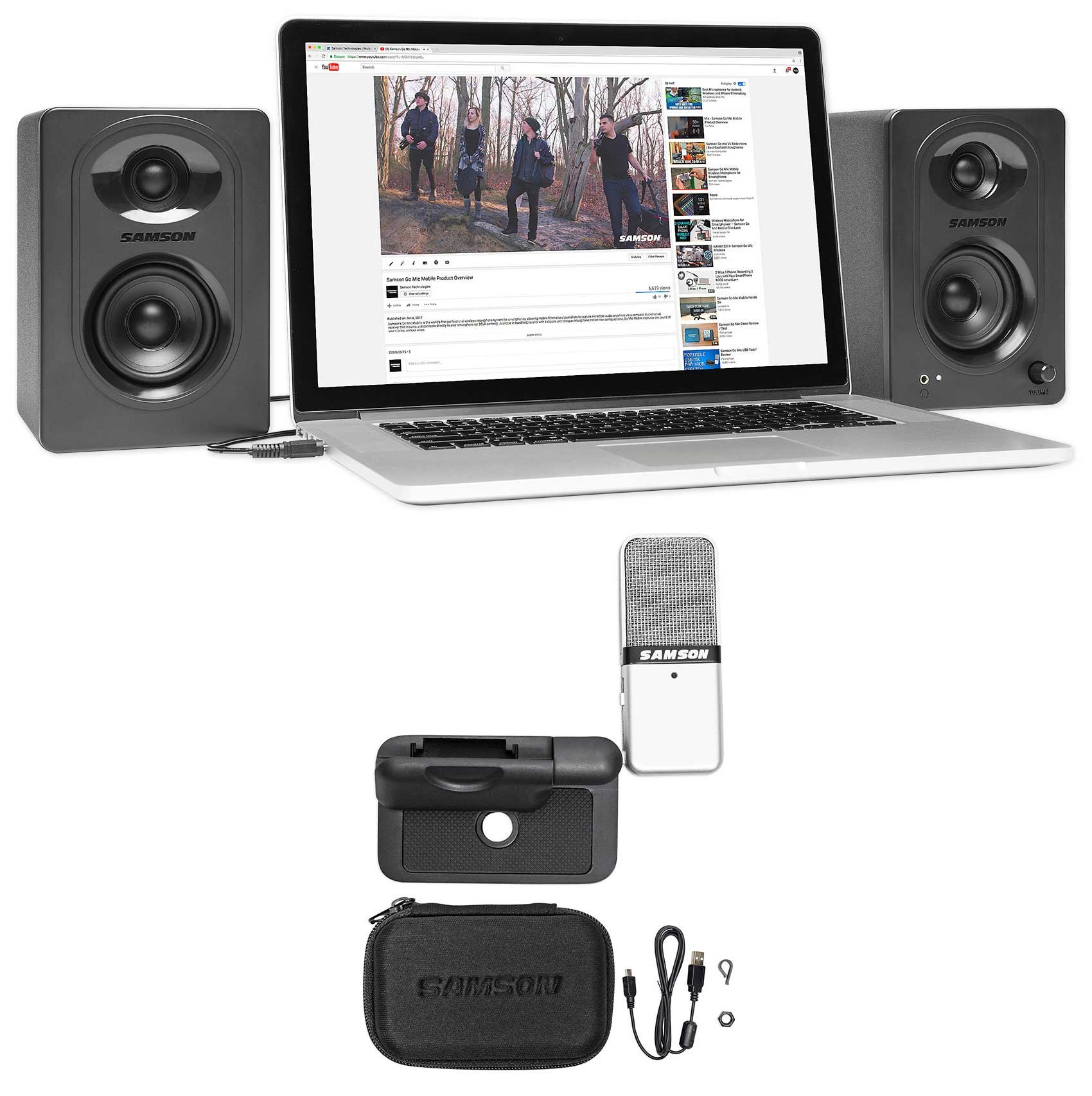 2) SAMSON M30 Powered Studio/Computer/Podcast Monitors Speakers+Microphone