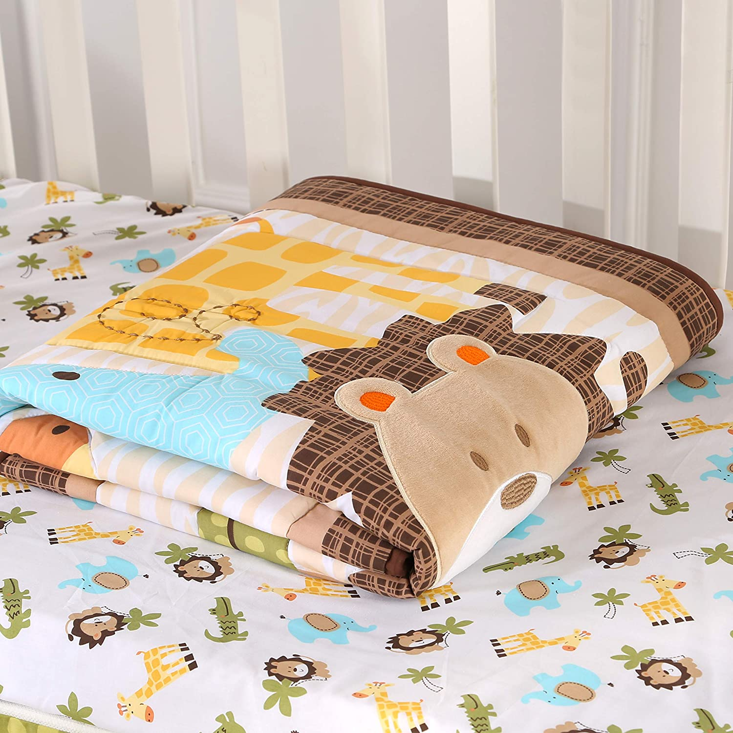 Wowelife Jungle Bedding Crib Set for Baby Lion Elephant Giraffe and Crocodile Baby Boy Crib Bedding Sets with Diaper Stacker Brown-9 Piece