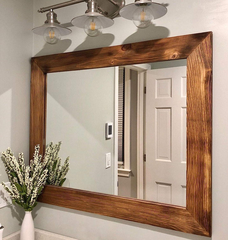Amazon Com Shiplap Rustic Wood Framed Mirror 20 Stain Colors Reclaimed Rustic Styled Wood Big Bathroom Mirror Large Over Sink Vanity Mirror Mirror For Wall Primitive Wood Wall Mirror Handmade