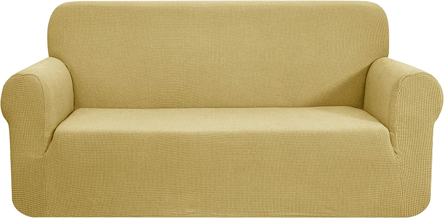 CHUN YI Stretch Sofa Slipcover 1-Piece Couch Cover Furniture Protector,3 Seater Settee Coat Soft with Elastic Bottom,Checks Spandex Jacquard Fabric, Large, Beige