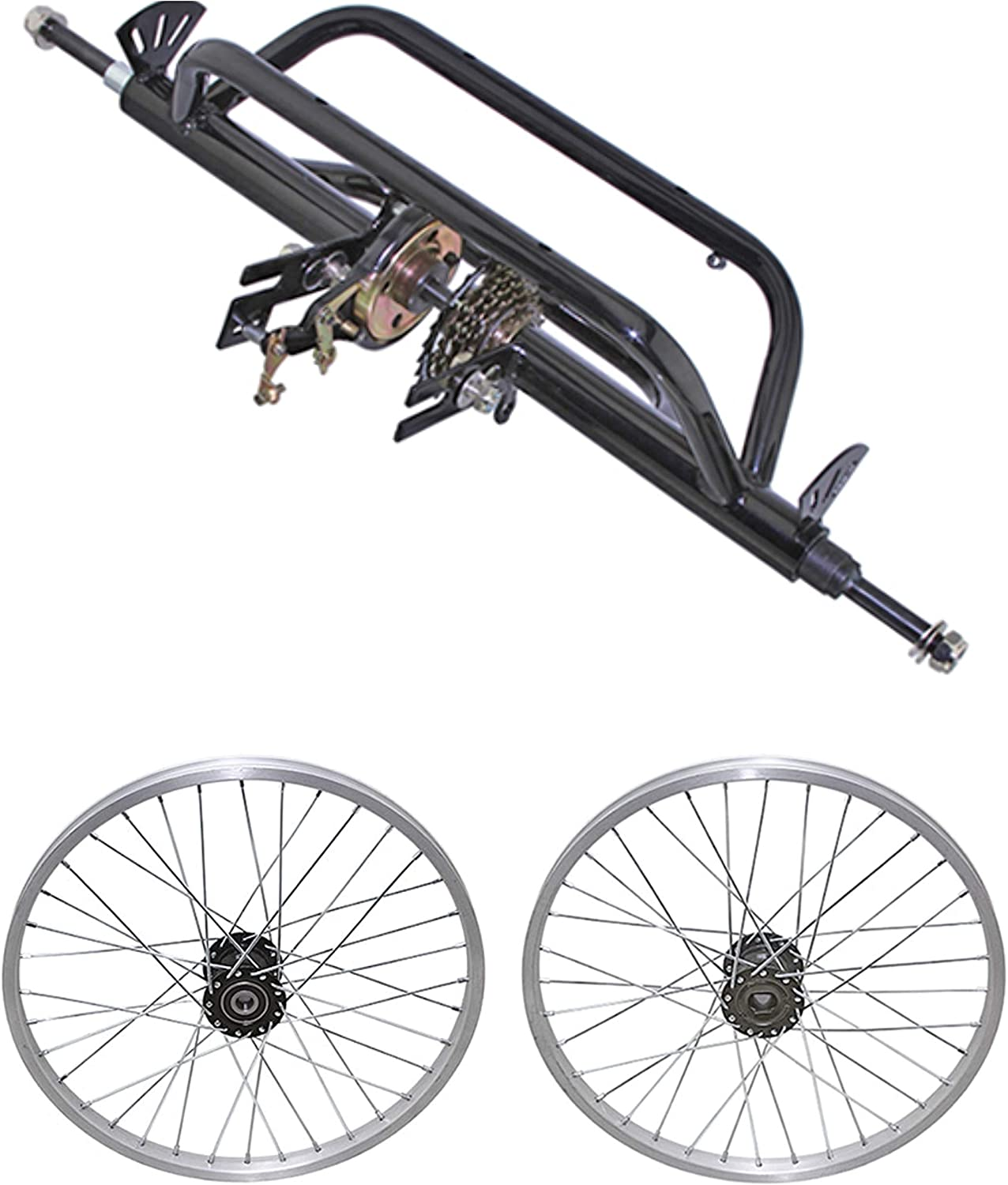 Bicycle to Tricycle Trike Conversion Kit for 7 speed 15mm Axle Black