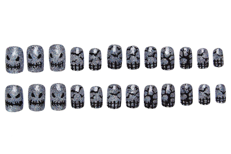 Amazon.com : 24 Pcs of 12 Different Sizes Handmade Dark Halloween Finger Fake Nail for Halloween : Beauty