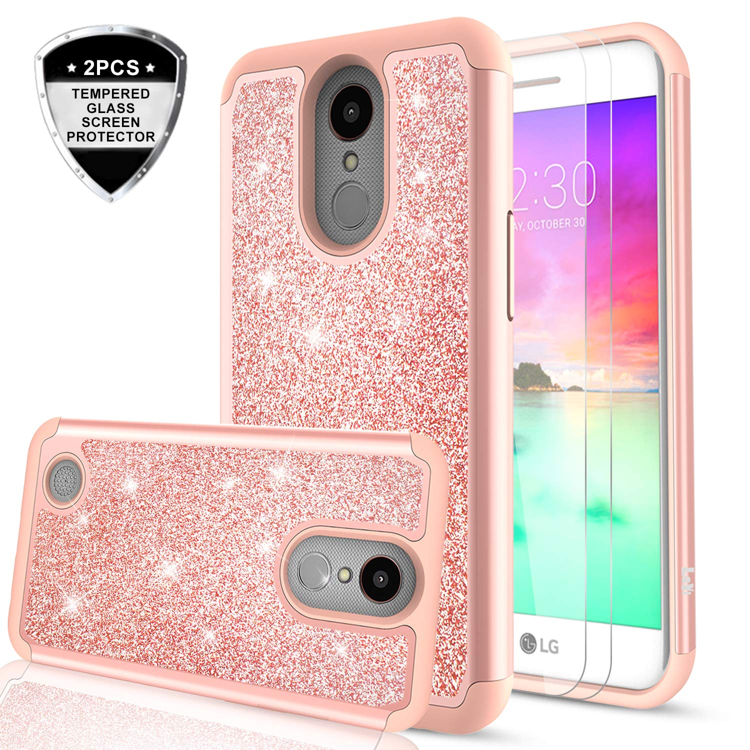LG K20 V Case, K20/ LV5/ Plus/LG K10 2017 / Grace/Harmony Case with Tempered Glass Screen Protector, LeYi Glitter Bling Girly Women Hybrid Amazon.com:
