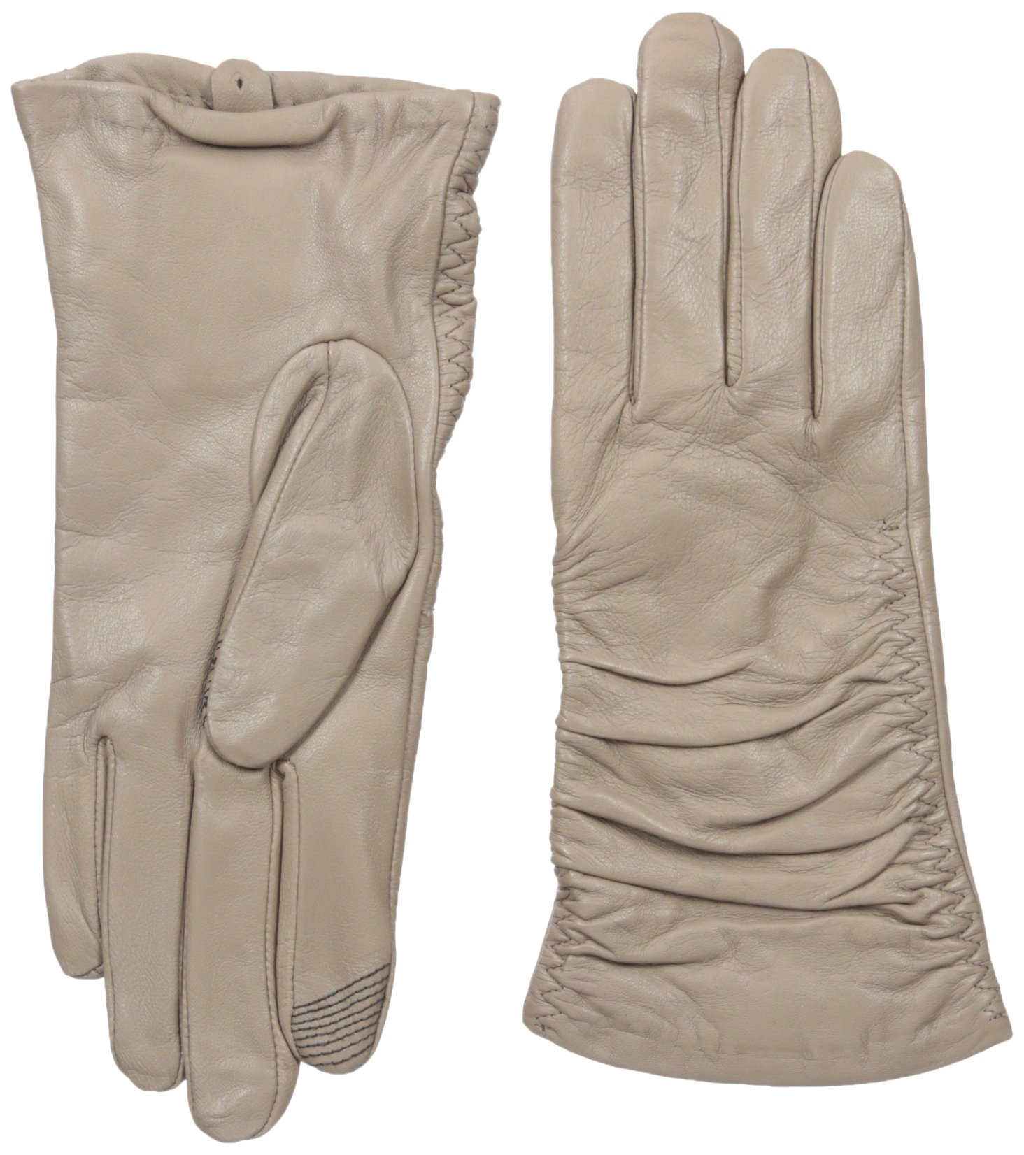 Adrienne Vittadini Women's Supple Leather Touchscreen Gloves, Mushroom, Large