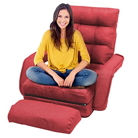 Floor Chair Lazy Sofa Chair, Folding Sofa Lounger Bed with 5-Position  Adjustable, Armrests and Pillow for Gaming, Sleeper and Reading (Red)