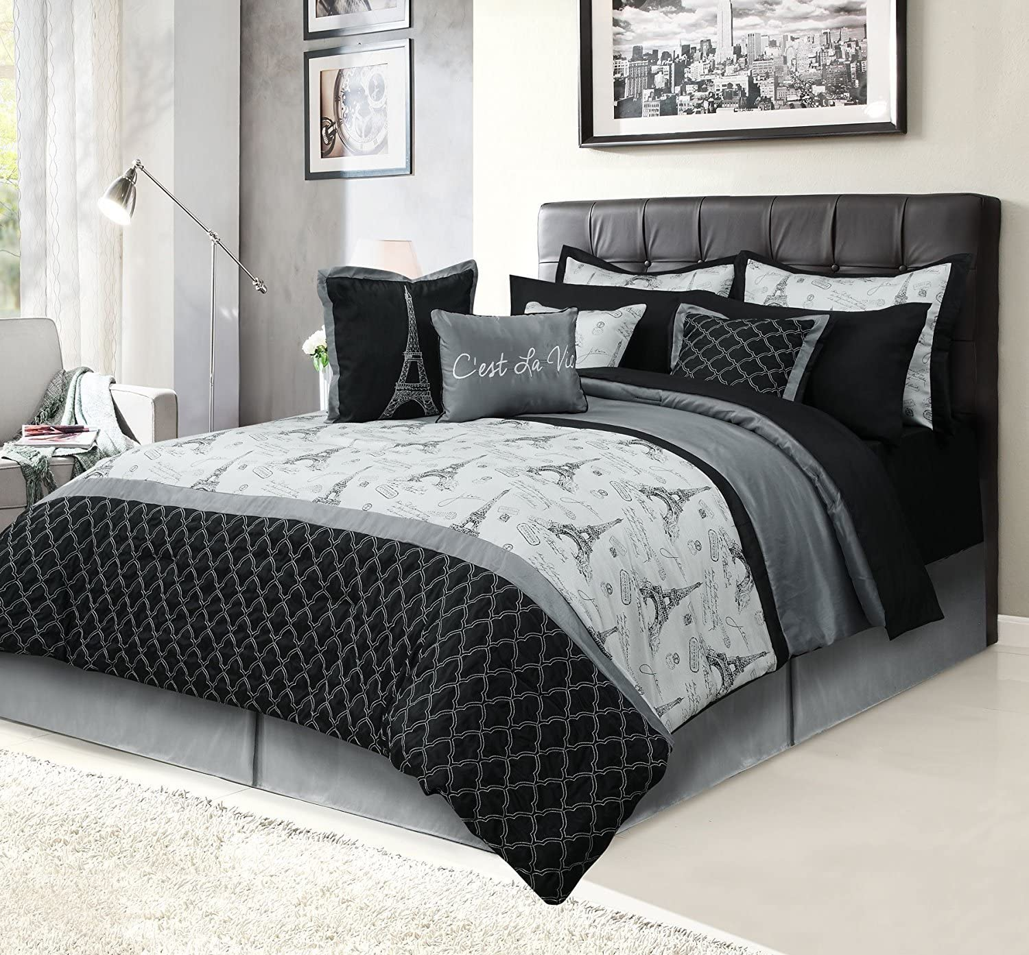 HowPlumb Paris Queen Bedding Bed in a Bag 12 Piece Set with Sheets, Eiffel Tower Black and Gray
