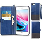 "iPhone 8 Case, Phone 7 Case, ESR PU Leather Flip Wallet Cover [Support Wireless Charging] with Strap Card Slots Stand Pouch Case Front and Back Shell for 4.7"" iPhone 8(2017)/iPhone 7(2016)(Blue)"