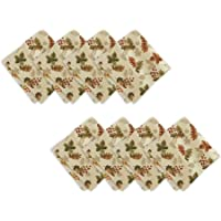Elrene Home Fashions Swaying Leaves Allover Print Cloth Napkins for Fall/Harvest/Thanksgiving, Set of 8, 17″ x 17