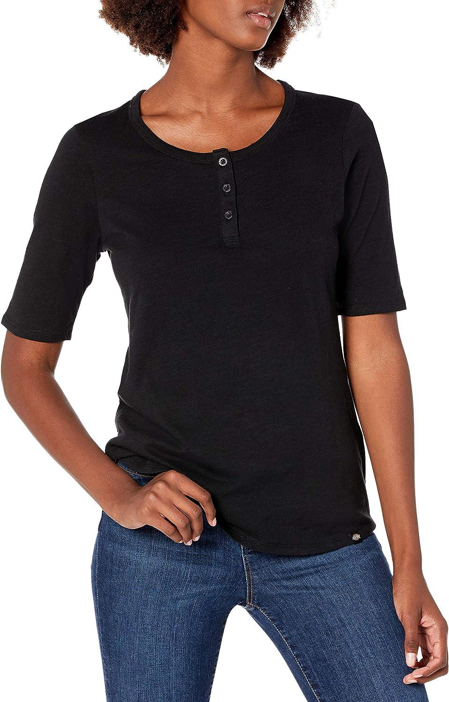 Dickies Womens Short Sleeve Elbow Length Henley Shirt