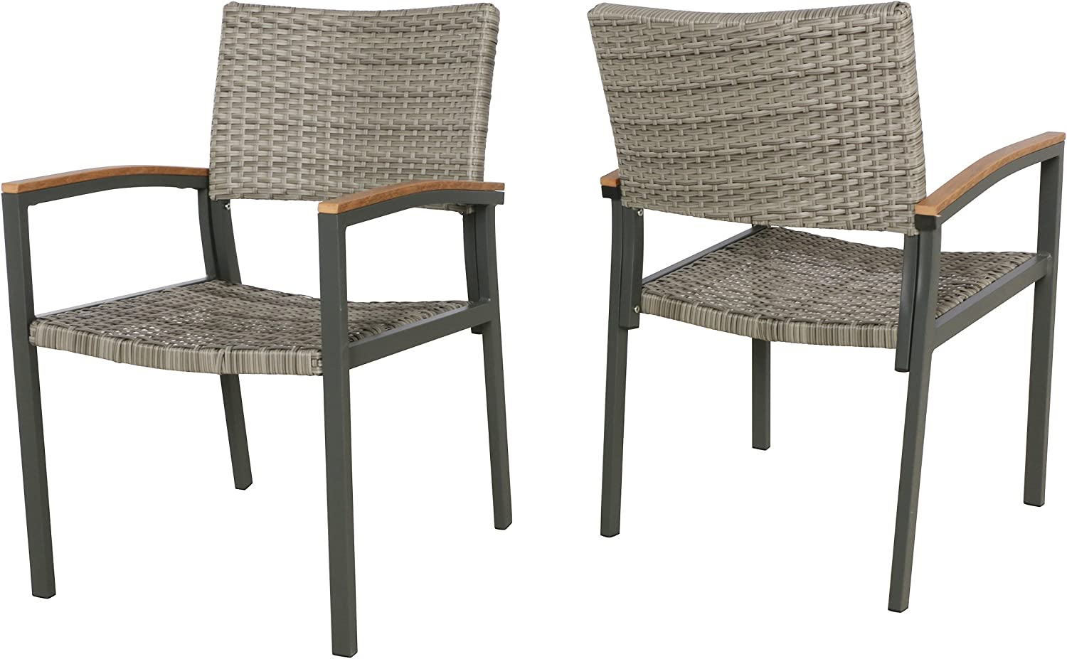 Christopher Knight Home 305313 Emma Outdoor Wicker Dining Chair with Aluminum Frame (Set of 2), Gray
