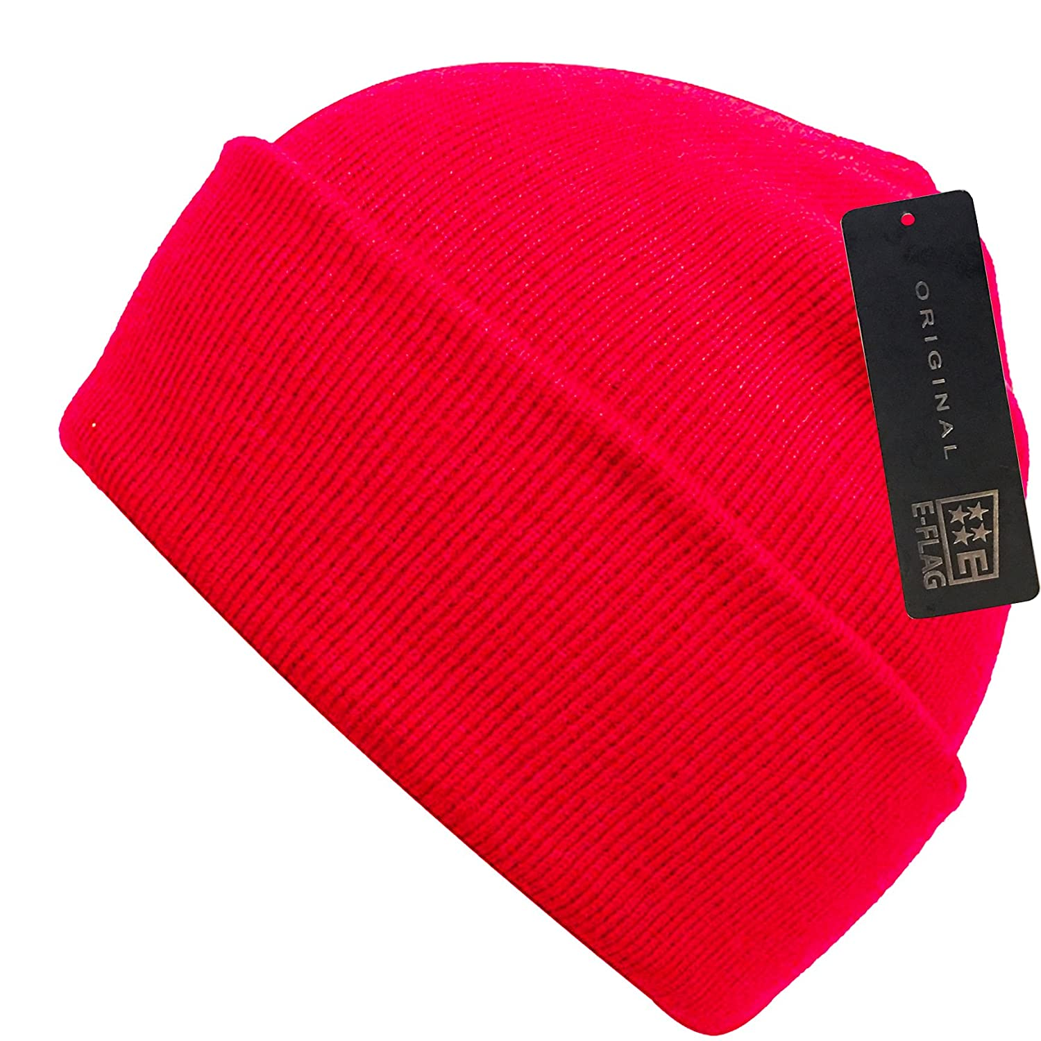 f2f64c78714 E-Flag Plain Knit Cap Cold Winter Cuff Beanie (22+ Colors Available) (A RED)  at Amazon Men s Clothing store