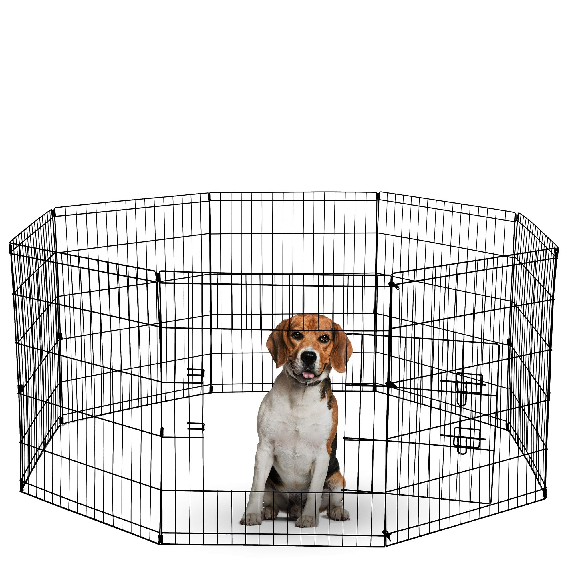 Dog Exercise Pen Pet Playpens for XX-Large Dogs - Puppy Playpen Outdoor Back or Front Yard Fence Cage Fencing Doggie Rabbit Cats Playpens Outside Fences with Door - 48 Inch Metal Wire 8-Panel Foldable by Paws & Pals