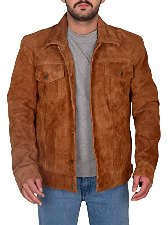 Men S Fashion Real Cowhide Suede Leather Brown Biker Jacket At