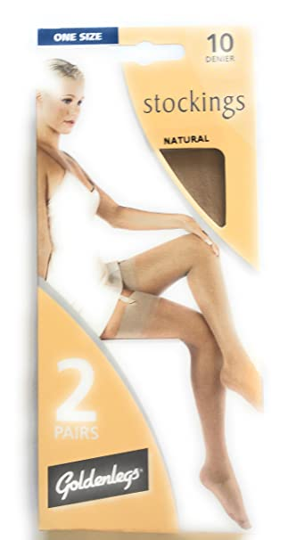 40afb4475a2016 Goldenlegs 10 Denier Stockings (2 pair pack) (Natural): Amazon.co.uk:  Clothing