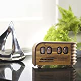 Nuvitron Vintage Nixie Tube Clock - Art Deco Design with IN12 Nixie Tubes - Handcrafted wooden enclosure - Unique gifts for men who have everything - Current Model 2018 includes alarm function, LEDs