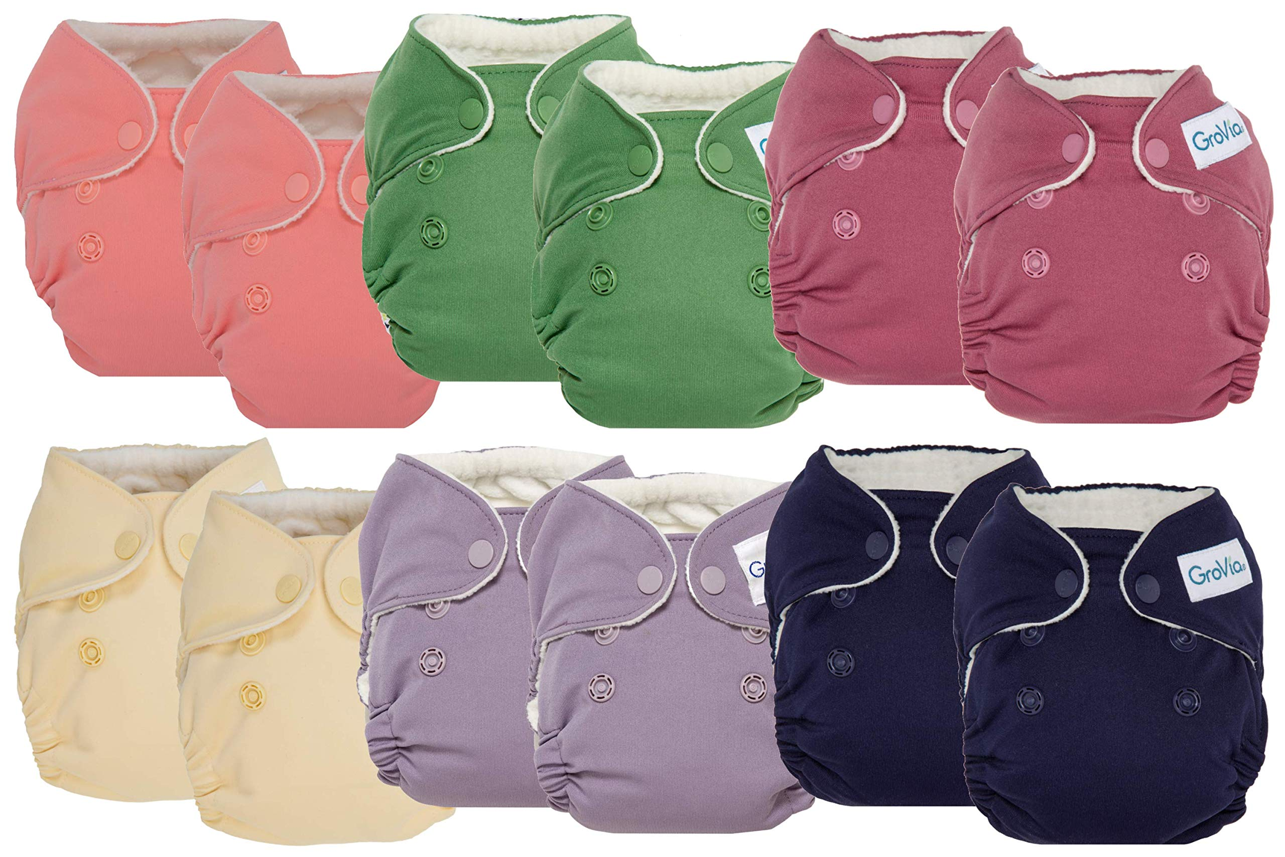 GroVia Newborn All in One Snap Reusable Cloth Diaper (AIO) - 12 Pack (Color Mix 4)