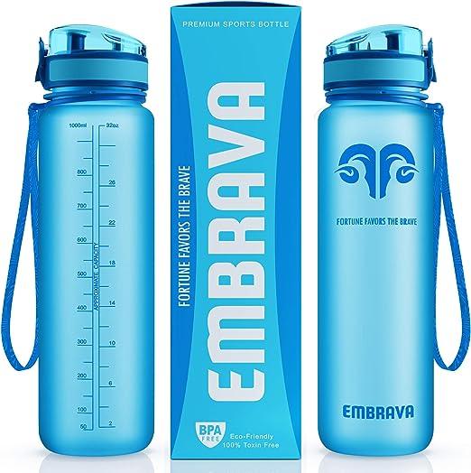 Embrava Best Sports Water Bottle - 32oz Large - Fast Flow, Flip Top Leak Proof Lid w/One Click Open