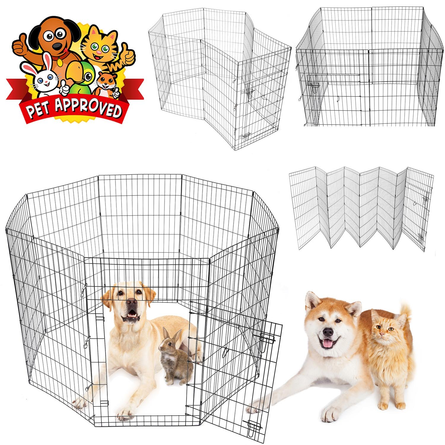 GC Global Direct Pet Dog Playpen Exercise Fence Cage Kennel 8-Panel w/ Door - Size Opt. (Black 48''H)