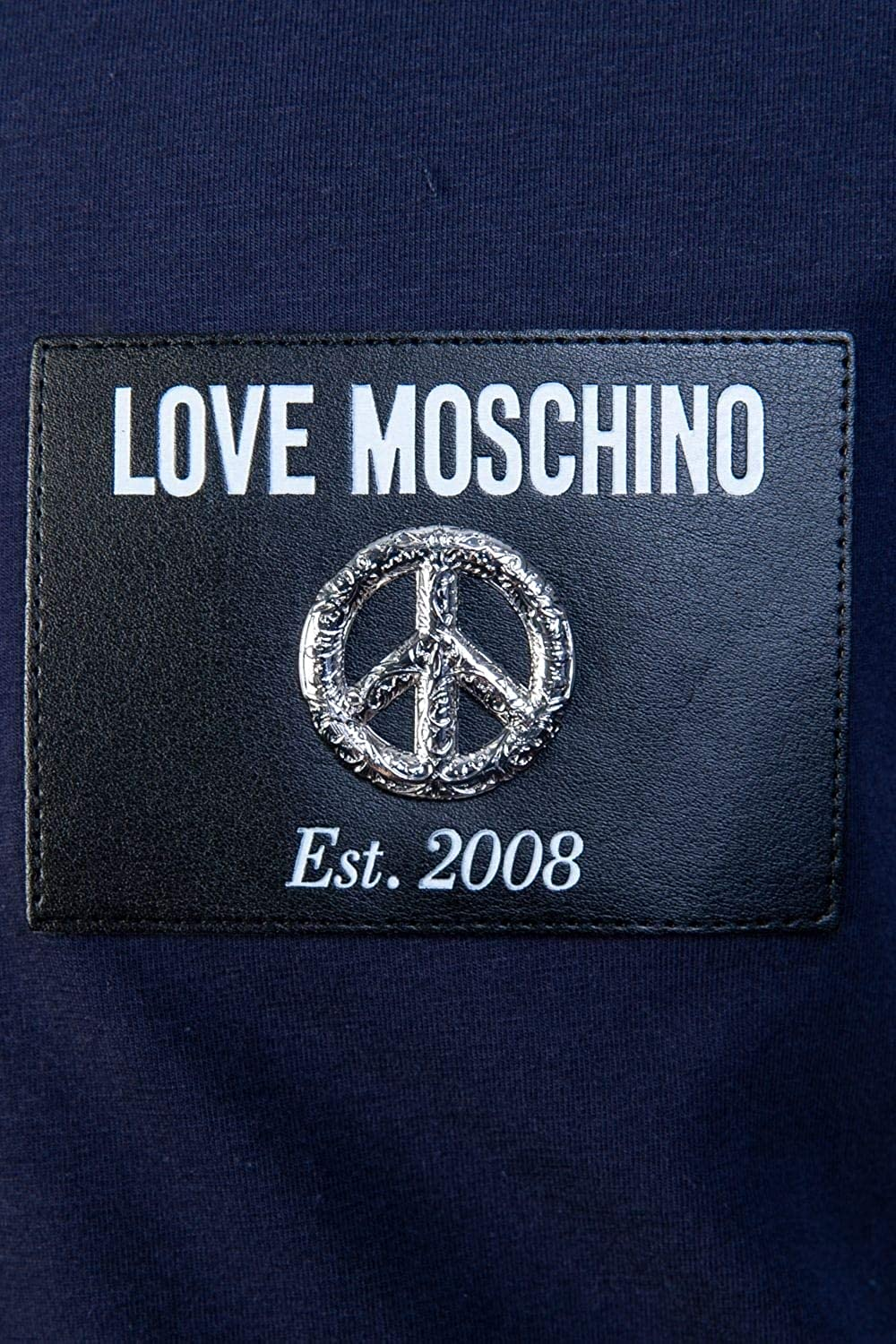 MOSCHINO Love Leather Peace Badge T Shirt in Black