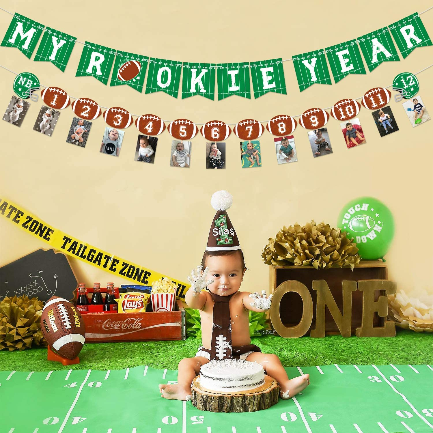 12 months TOUCHDOWN Football Themed 1st Birthday Photo Clips Banner Newborn Party Packs Available