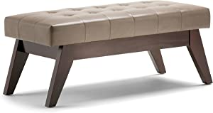 Simpli Home 3AXCOT-249-ASB Draper 40 inch Wide Mid Century ModernOttoman Bench in Ash Blonde Faux Leather