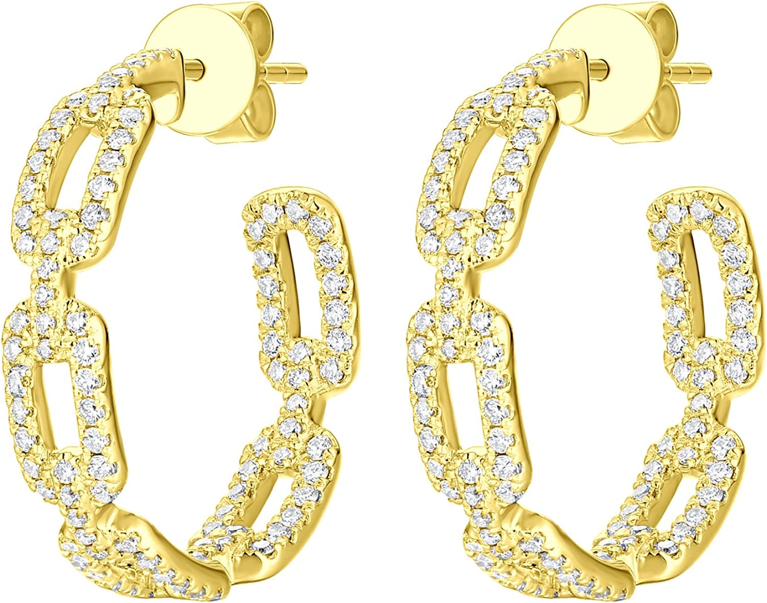 14k Gold Prism Jewel 1.12Ct Natural Diamond Designer Inside Out Diamond Hoop Earring