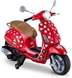 Kid Trax Toddler Minnie Mouse Vespa Scooter Electric Ride On Toy, 3-5 Years Old, 6 Volt, Max Weight 60 lbs, Red…