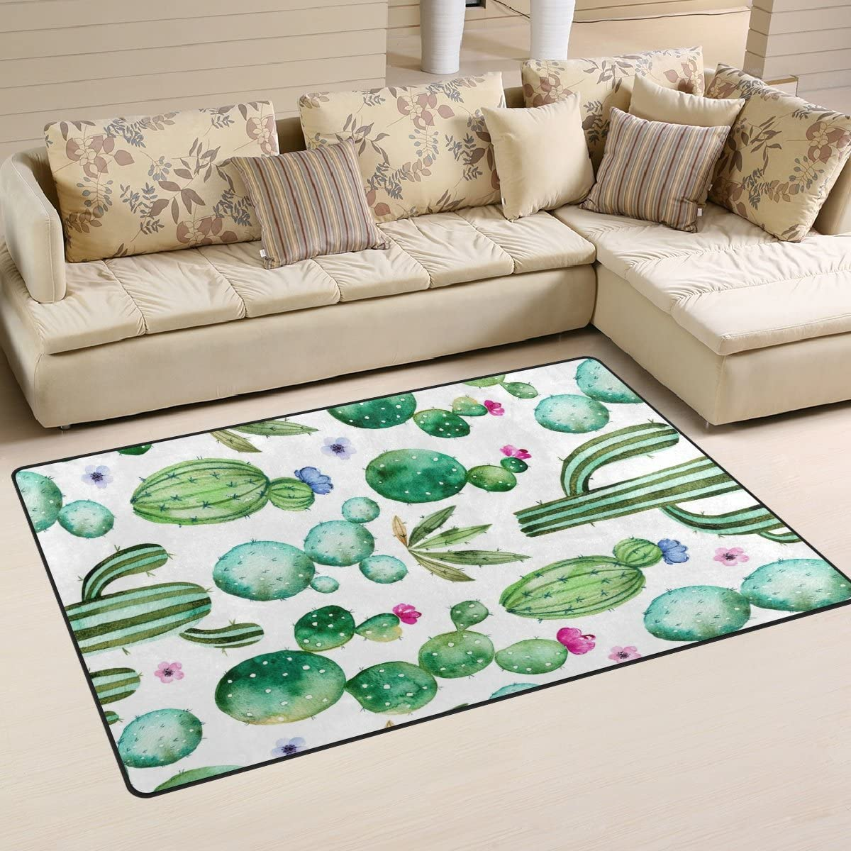 WOZO Summer Watercolor Cactus Tropical Area Rug Rugs Non-Slip Floor Mat Doormats for Living Room Bedroom 60 x 39 inches