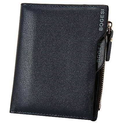 Finerolls elegante hombre cartera suave PU Gentleman Monedero con múltiples ranuras para tarjetas y bolsillo con cremallera, ultrafina, 12 * 10 * 1,5 ...