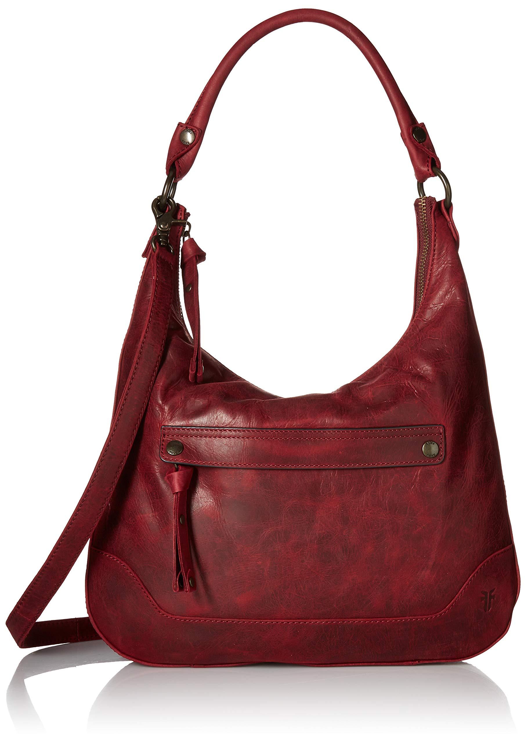 FRYE Melissa Zip Leather Hobo Handbag, sangria