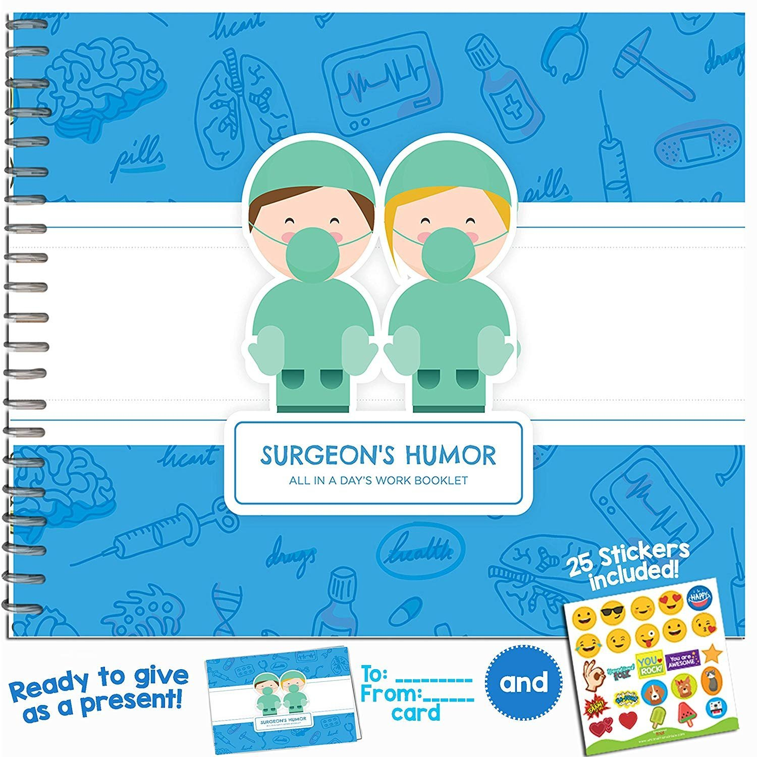 Doctor Gifts - Gift Idea For Your Favorite Surgeon, Medic, Specialist or Plastic Surgeon - Say Thank You After a Surgery or Medical Procedure with this Booklet -Includes Stickers, Jokes & Funny Quotes