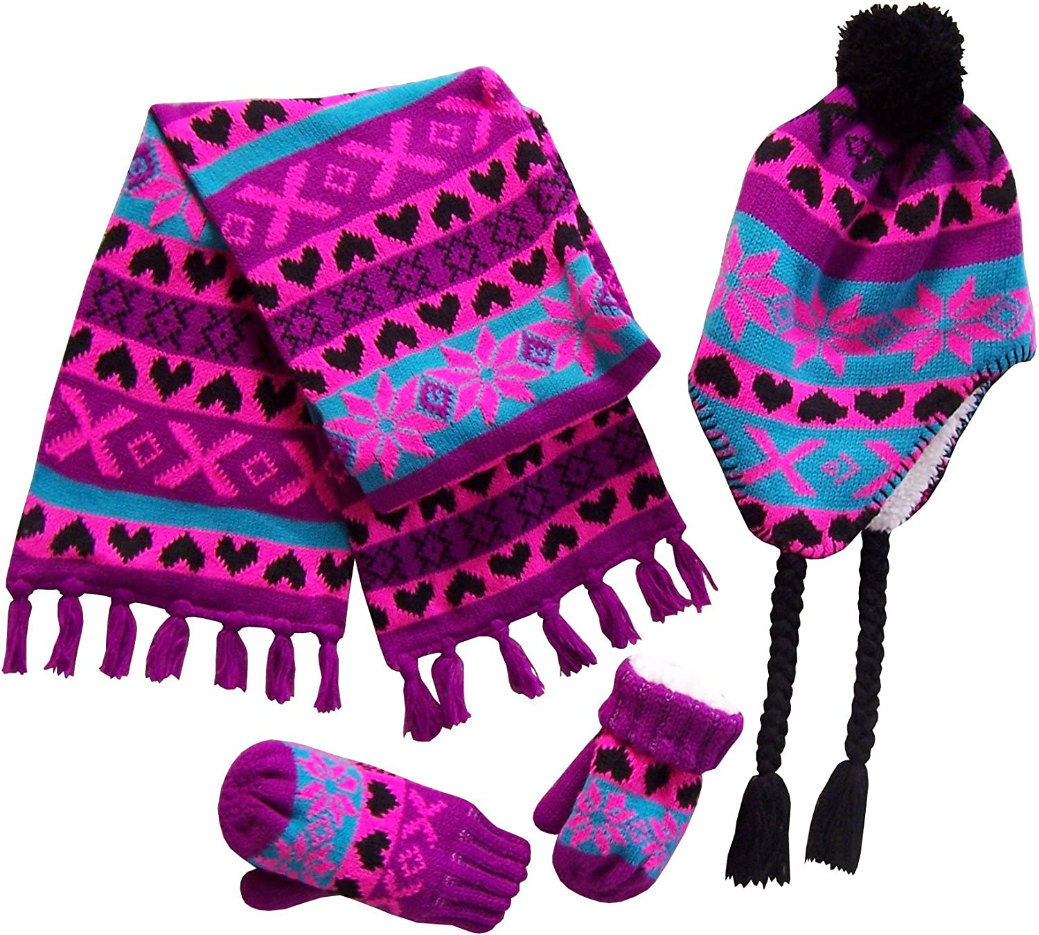 NIce Caps Little Girls and Infants Sherpa Lined Knitted 3 PC Set with Designs