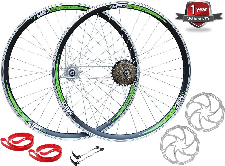 Madspeed7 QR 26 559x19 MTB Bike Wheelset Disc Brake Shimano 7 Speed 5 Colour Options