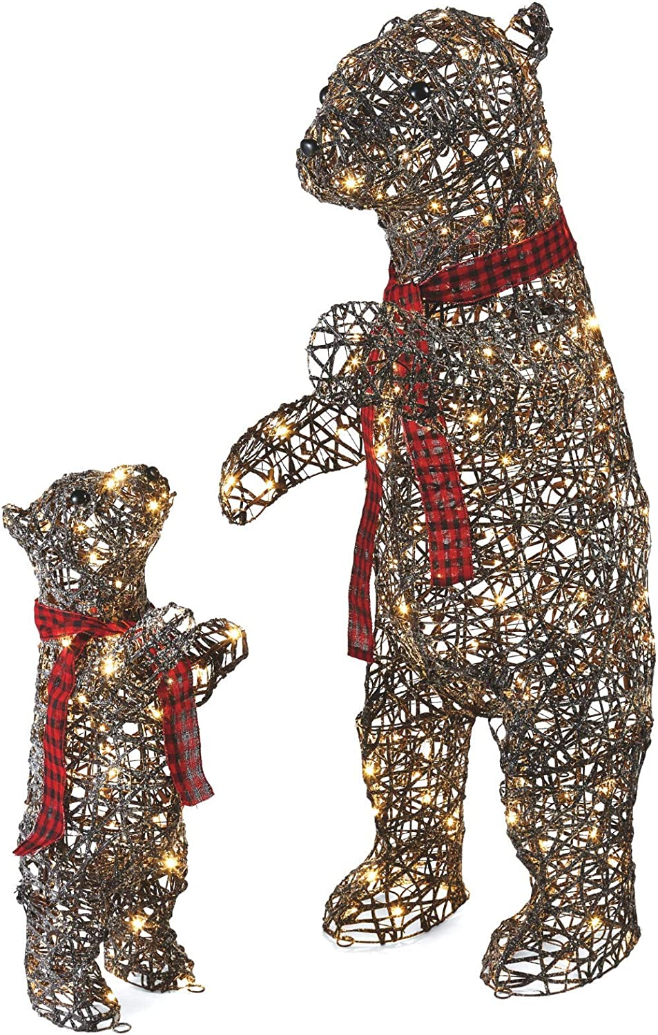 NOMA Pre-Lit Light Up Glittering Mama and Baby Bear 2-Piece Set | Christmas Holiday Lawn Decoration | 4.8ft & 2.8ft