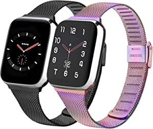 PACK 2 Metal Band Compatible with Apple Watch 38mm 40mm 42mm 44mm,Stainless Steel Mesh Loop with Adjustable Magnetic Closure Bands Compatible for iWatch Series 5/4/3/2/1 (colorful+black, 42mm/44mm)