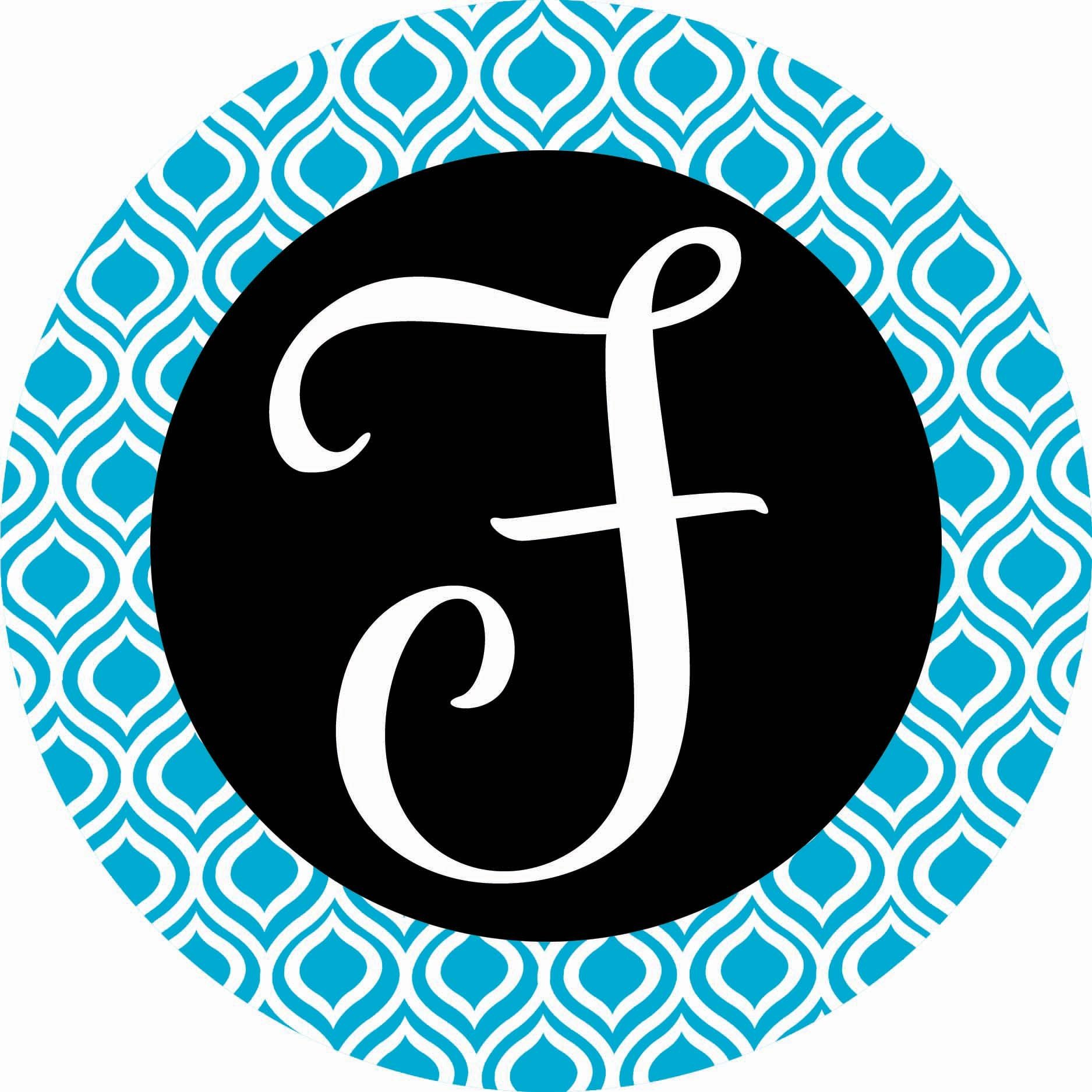 Accent Magnet-Whimsy-F-Monogram - Auto - Home - Kitchen -Yard -Six (6) Inch - Made in USA - Licensed , Copyrighted by Custom Decor Inc. by Custom Decor
