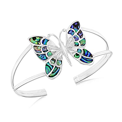 Tuscany Silver Sterling Silver Pave Shell Butterfly Bangle 2Um95