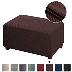 Spandex Elastic Rectangle Footstool Sofa Cover Footstool Protector for Living Room Stretch Storage Jacquard Textured Twill Fabric Ottoman Slipcover for Sofa Sets, Brown