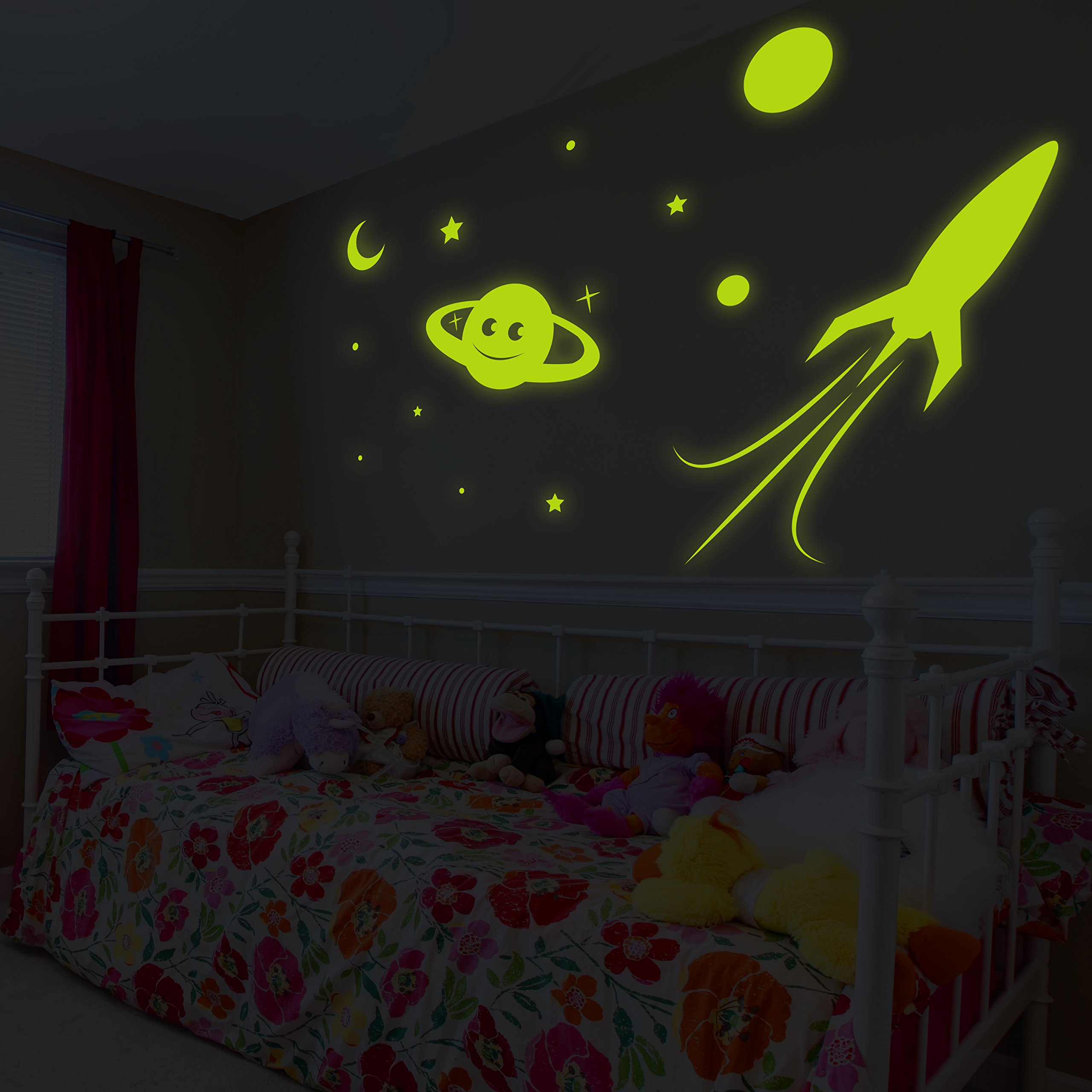 ( 55'' x 37'' ) Glowing Vinyl Wall Decal Planet, Rocket, Stars / Glow in the Dark Sticker / Сrescent Luminescent Mural Kids, Baby Room + Free Decal Gift!