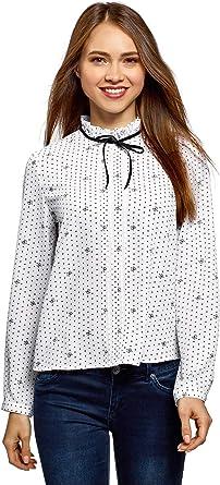 oodji Ultra Mujer Blusa Recta con Cordones