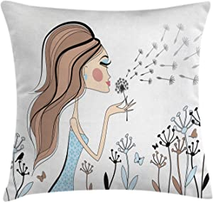 Ambesonne Retro Throw Pillow Cushion Cover, Fashion Woman with Dandelion Flower Spring Wind Garden Sketchy Illustration, Decorative Square Accent Pillow Case, 16