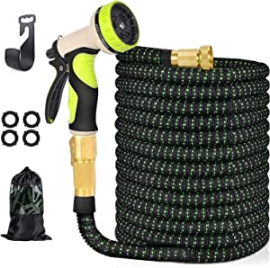 ivolks 100 FT Expandable Garden Hose with 3/4 Solid Brass Connector 9 Function Nozzle Flexible Water Hose