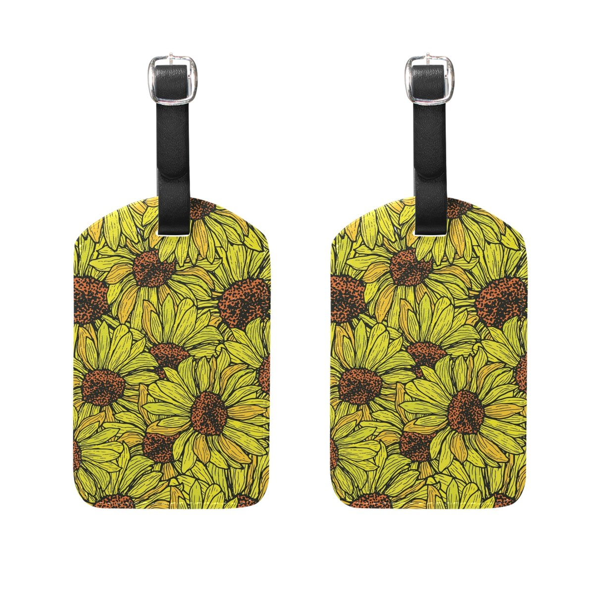 Set of 2 Luggage Tags Watercolor Sunflower Suitcase Labels Travel Accessories