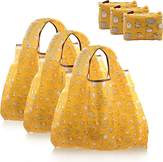 the Lazy Egg Folding Eco Reusable Shopping Tote with Pocket Pouch Gudetama