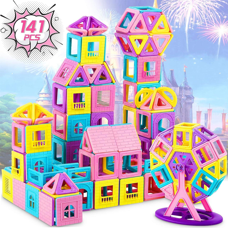 Dookey 141 PCS Bloques Magnéticos 3D, Bloques Magneticos Magneticos, Juguetes Construcciones Magneticas para Niños, Juguete Educativo y Creativo para Niños Adultos Regalo de Cumpleaños y Fiestas