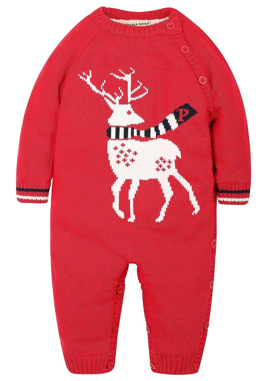 701ba1368 Amazon.com  ZOEREA Unisex Baby Velvet Christmas Sweater Reindeer ...
