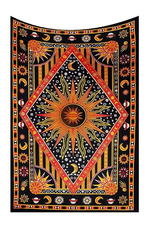 Hippie Tapisserie Wandteppich Wandbehang  Sonne und Mond Matte Strandtuch Deko