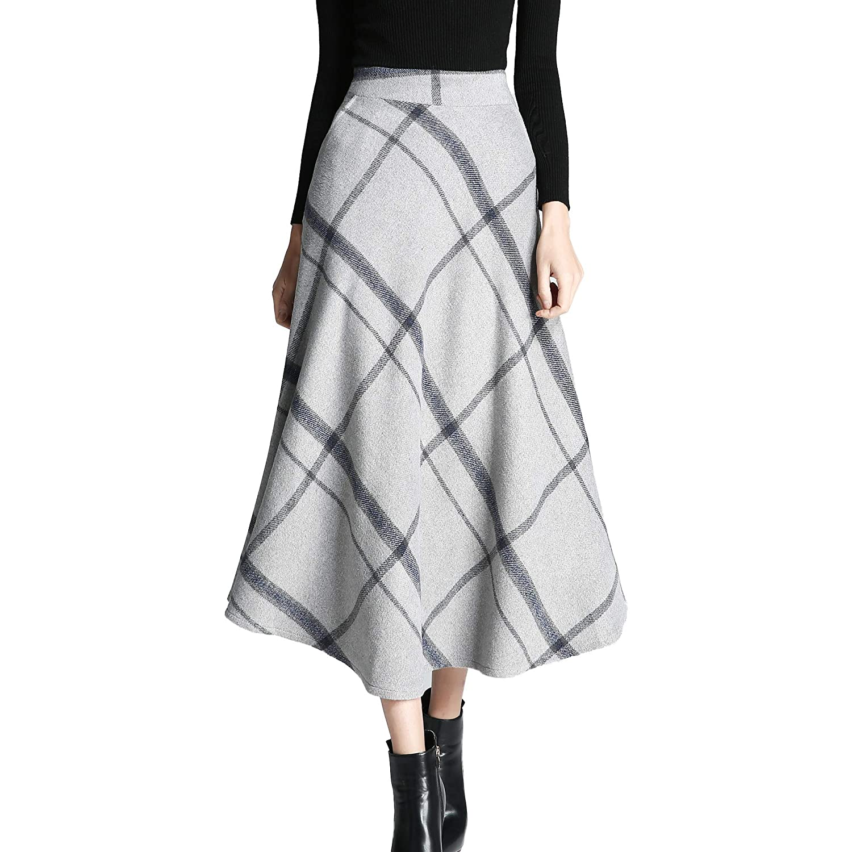 Qz103 Grey Nantersan Women's Winter Warm Flare Long Plaid Skirt Hairy High Elastic Waist Maxi Skirt Aline Plaid Skirts